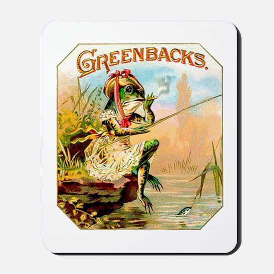 Greenbacks Fishing Frog Cigar Label Mousepad