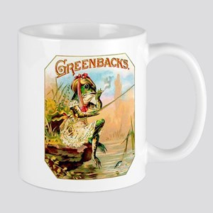 Greenbacks Fishing Frog Cigar Label Mug