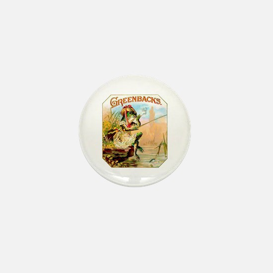 Greenbacks Fishing Frog Cigar Label Mini Button