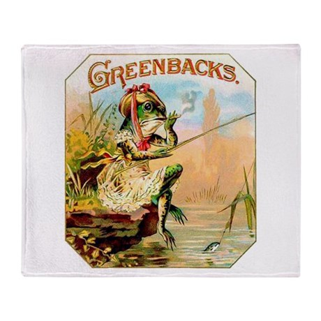Greenbacks Fishing Frog Cigar Label Stadium Blank