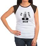 Black WIN Ribbon Women's Cap Sleeve T-Shirt