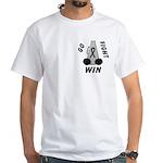 Black WIN Ribbon White T-Shirt