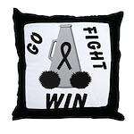 Black WIN Ribbon Throw Pillow