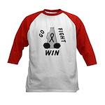 Black WIN Ribbon Kids Baseball Jersey