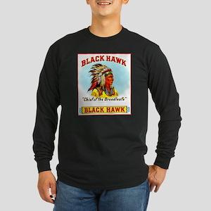 Black Hawk Chief Cigar Label Long Sleeve Dark T-Sh