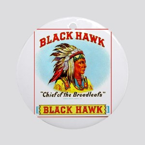 Black Hawk Chief Cigar Label Ornament (Round)