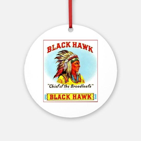 Black Hawk Chief Cigar Label Ornament (Round)