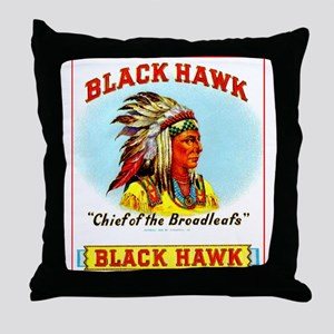 Black Hawk Chief Cigar Label Throw Pillow
