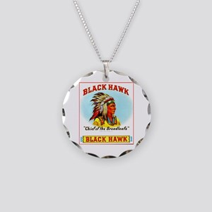 Black Hawk Chief Cigar Label Necklace Circle Charm