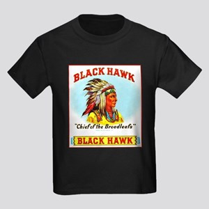 Black Hawk Chief Cigar Label Kids Dark T-Shirt