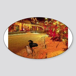 Christmas Town Doxies Sticker (Oval)