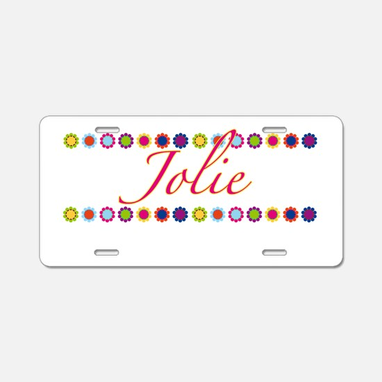 Jolie with Flowers Aluminum License Plate