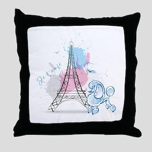 Paris Poodle Throw Pillow