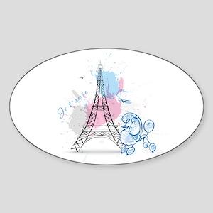 Paris Poodle Sticker (Oval)