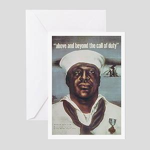 Black Servicemen Above & Beyond Greeting Cards (Pa