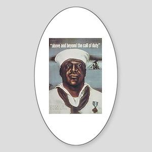 Black Servicemen Above & Beyond Oval Sticker