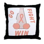 Peach WIN Ribbon Throw Pillow