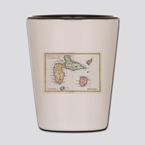 Vintage Map of Guadeloupe (1780) Shot Glass