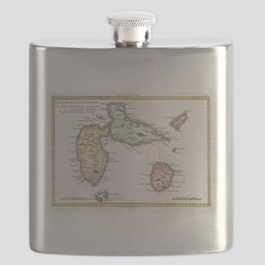 Vintage Map of Guadeloupe (1780) Flask