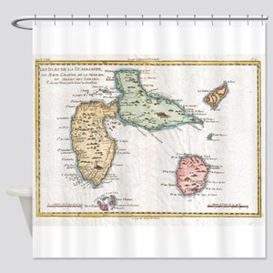 Vintage Map of Guadeloupe (1780) Shower Curtain