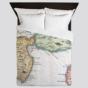 Vintage Map of Guadeloupe (1780) Queen Duvet