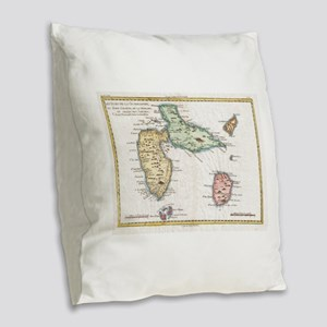 Vintage Map of Guadeloupe (178 Burlap Throw Pillow