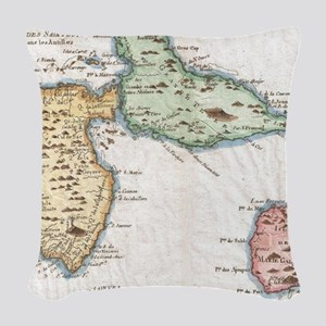 Vintage Map of Guadeloupe (178 Woven Throw Pillow