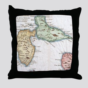 Vintage Map of Guadeloupe (1780) Throw Pillow