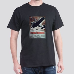 Flying Fortress (Front) Black T-Shirt