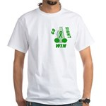 Green WIN Ribbon White T-Shirt