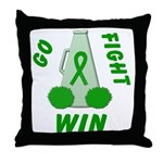 Green WIN Ribbon Throw Pillow