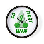 Green WIN Ribbon Wall Clock