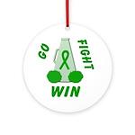 Green WIN Ribbon Ornament (Round)