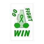 Green WIN Ribbon Rectangle Sticker