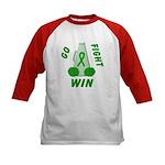 Green WIN Ribbon Kids Baseball Jersey