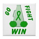 Green WIN Ribbon Tile Coaster