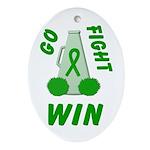 Green WIN Ribbon Oval Ornament