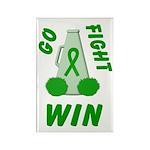 Green WIN Ribbon Rectangle Magnet (100 pack)