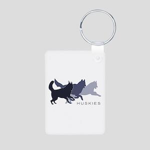 Running Huskies Aluminum Photo Keychain