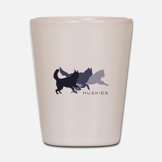 Running Huskies Shot Glass