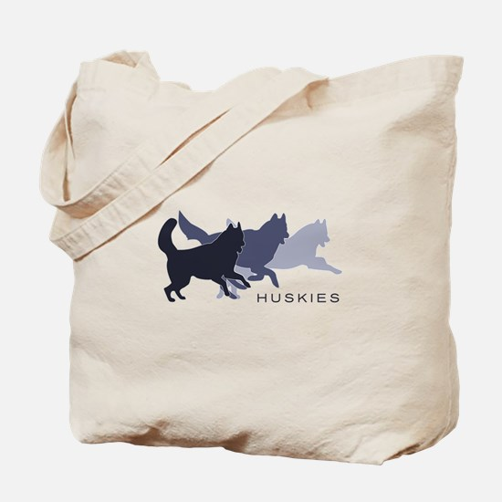 Running Huskies Tote Bag