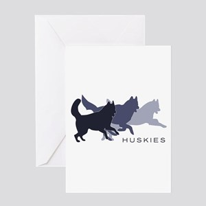 Running Huskies Greeting Card