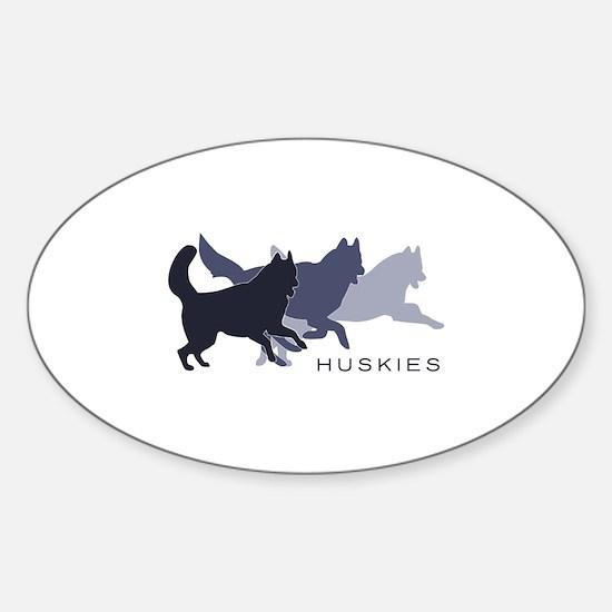 Running Huskies Sticker (Oval)