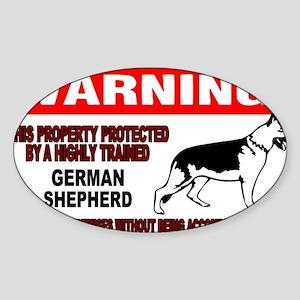 German Shepherd Warning Sticker (Oval)