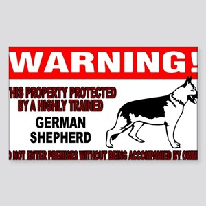 German Shepherd Warning Sticker (Rectangle)