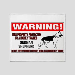 German Shepherd Warning Throw Blanket