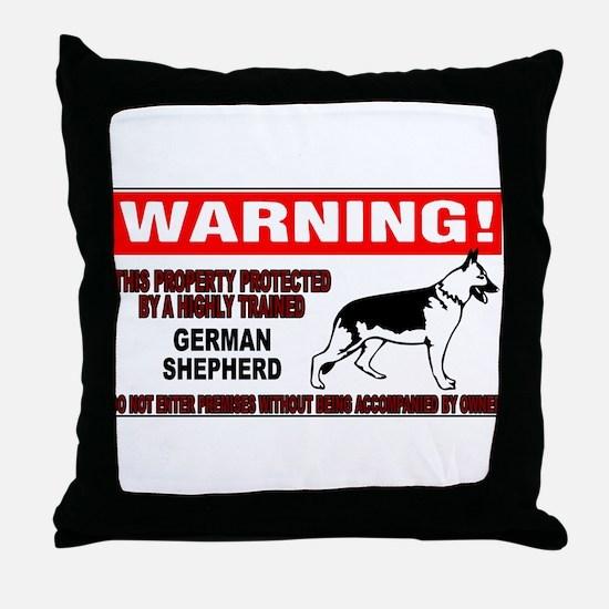 German Shepherd Warning Throw Pillow