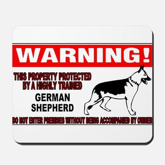 German Shepherd Warning Mousepad