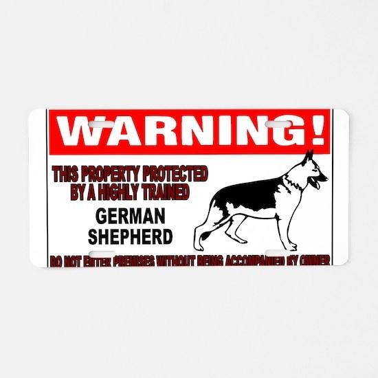 German Shepherd Warning Aluminum License Plate