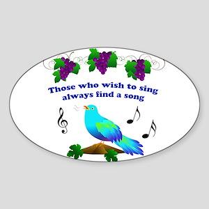 Singing Bluebird Sticker (Oval)